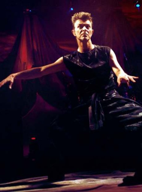David Bowie photographed performing live in Milan,