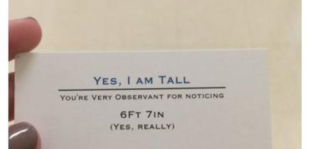 Tall kid business card